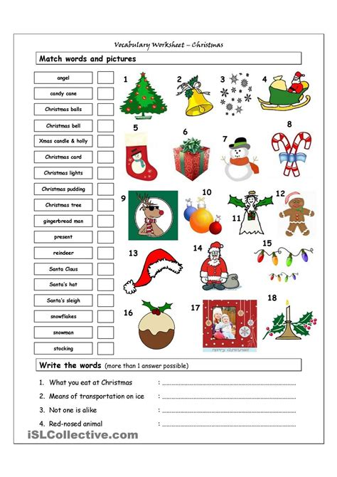 vocabulary matching worksheet xmas christmas