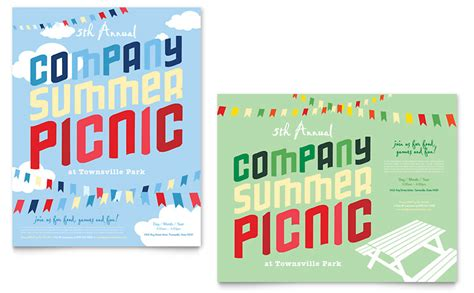 company summer picnic poster template word publisher