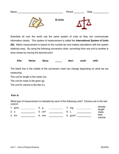 Si Units Conversion Worksheet Answers