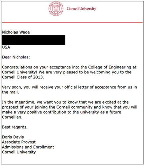 Cornell Acceptance Letter Date Cornell Acceptance Letter Www Pixshark Images Galleries With A Bite