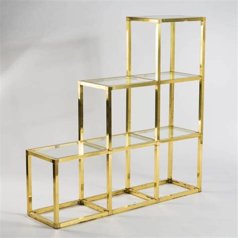Brass Glass Shelf by Italian Modern Brass And Glass Shelves By Romeo Rega At