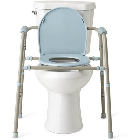 commode bathroom medline steel 3 in 1 bedside toilet commode with microban