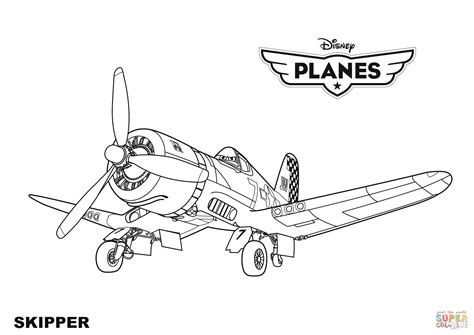 disney planes skipper coloring page free printable
