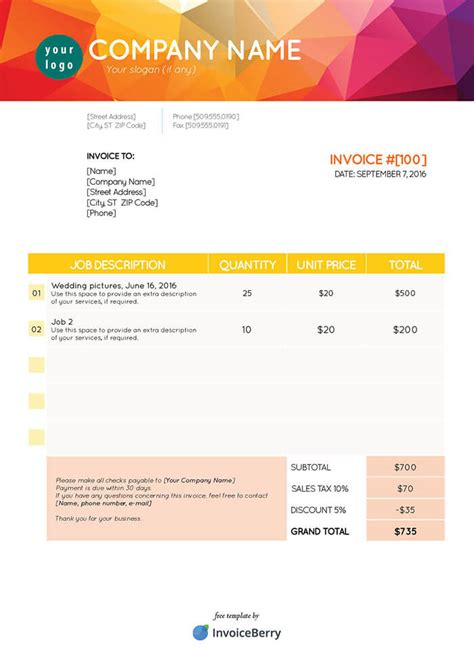 indesign form templates free indesign invoice templates invoiceberry
