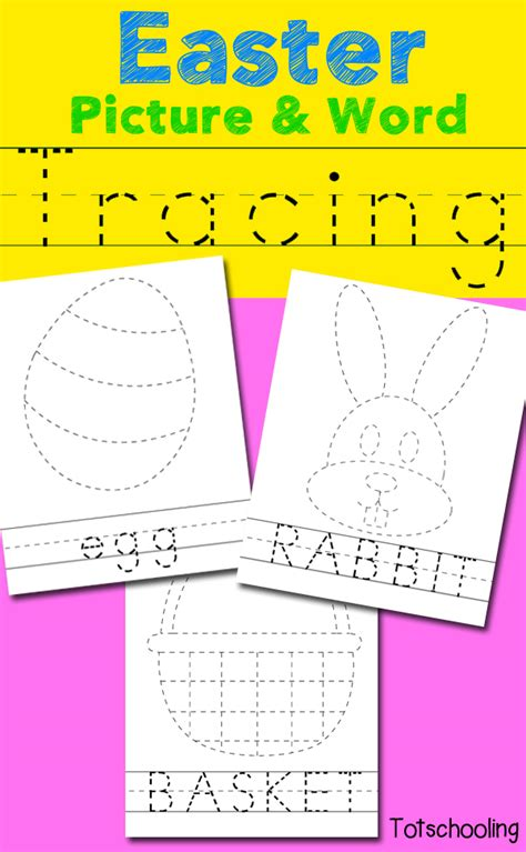 easter picture word tracing printables totschooling