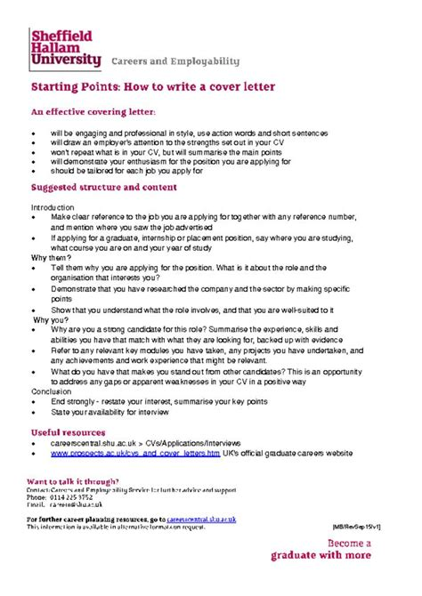 covering letter careers central