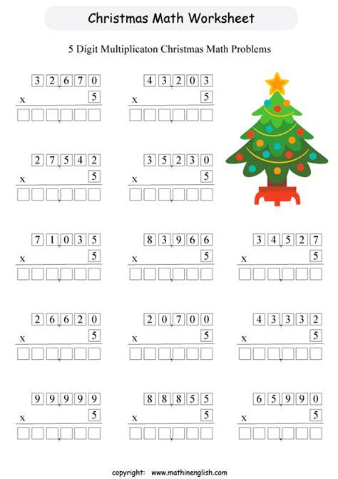 printable worksheets for grade 5 multiplication worksheets 187 christmas multiplication