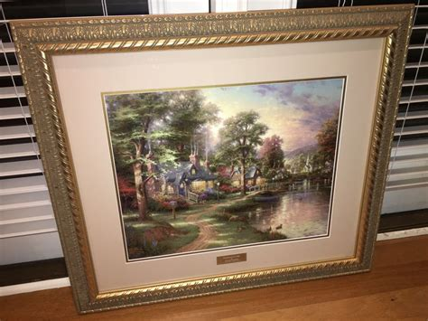 kinkade home interiors kinkade quot hometown lake quot print 26 quot x 30 quot framed library edition lqqk ebay