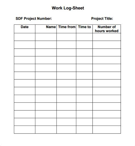 Excel Work Log Template 7 work log templates word excel pdf formats
