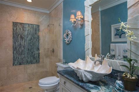 tropical 3 4 bathroom with high ceiling vessel sink in