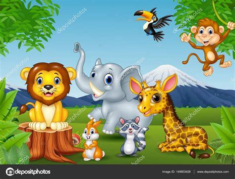 imagenes vectoriales de animales dibujos animados de animales salvajes en la selva
