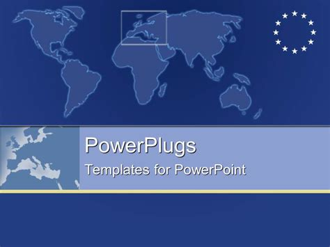 templates powerpoint european union powerpoint template plain map with european symbol with