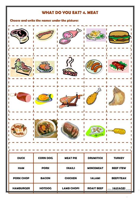 1951 free esl food worksheets what do you eat 4 worksheet free esl printable