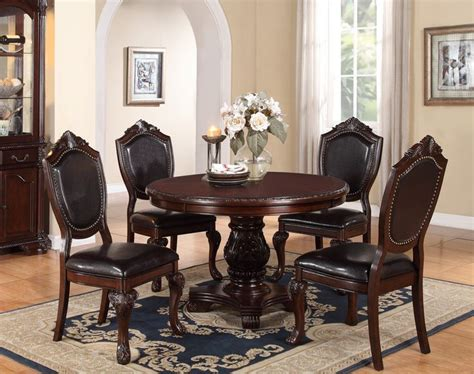 48 Quot Round Cherry Dining Table Set Poundex F2187 Cherries 48 Dining Table Set