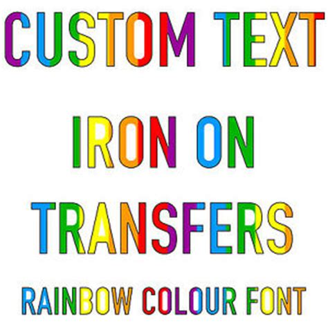 custom text iron on t shirt transfer rainbow font hoody