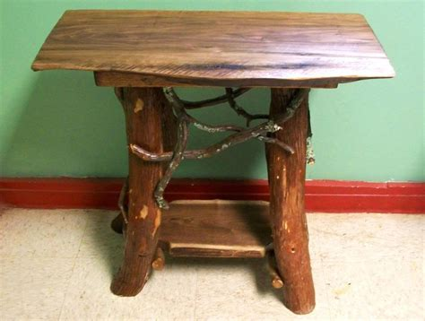 Handmade Log Furniture - rustic handmade end table log cabin adirondack furniture by j
