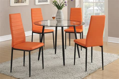 orange dining room sets 5pc glass top dining table set orange chairs