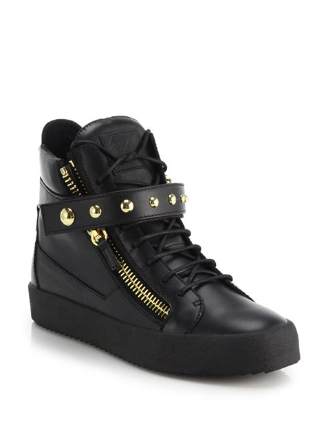 black high top sneakers mens giuseppe zanotti studded leather high top sneakers