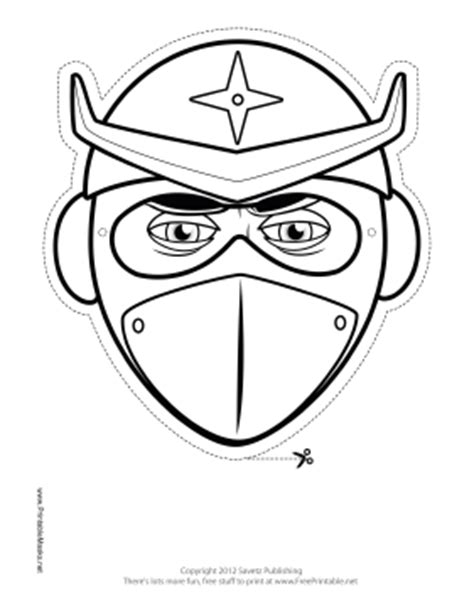 printable helmeted ninja mask to color mask