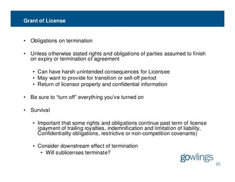 termination letter license agreement ip license agreements common issues and solutions