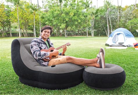ottoman with cup holder intex inflatable ultra lounge chair with cup holder and