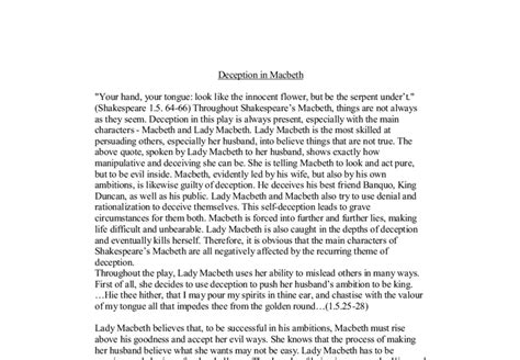 macbeth themes deception deception in macbeth gcse english marked by teachers com
