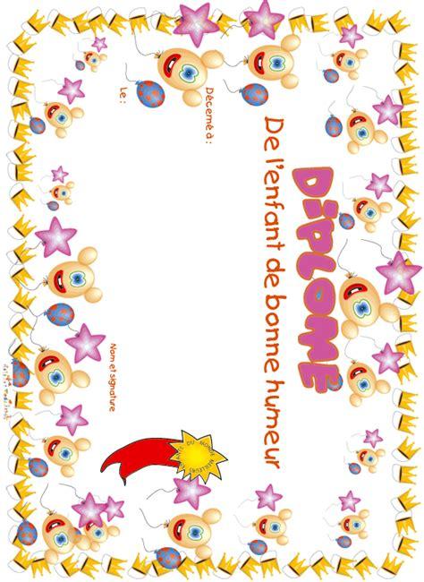 Imprimer Le Diplome Enfant Bonne Humeur Ballons Et 233 Toiles