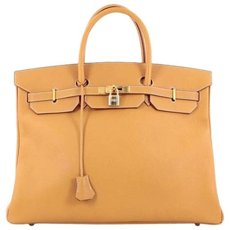 Features Oversizes Birkin by Hermes Birkin Handbag Brown Fjord With Gold