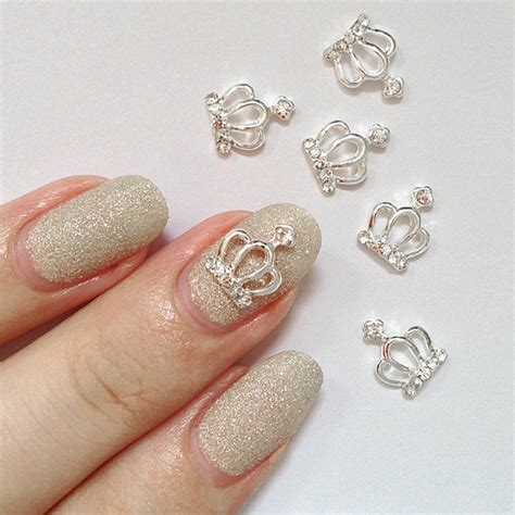 Nail Charms by 2 Pcs Silver Crown Diamonds Metallic 3d Nail Charm