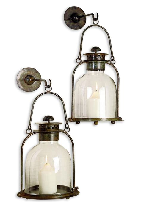 Lantern Wall Sconce by Alta Vista Pair Lime Wash Candle Sconce Lantern Kathy