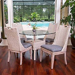 Wicker Kitchen Table And Chairs Belize Rustic White Indoor Rattan And Wicker 5 Pc Dining And Kitchen Set From