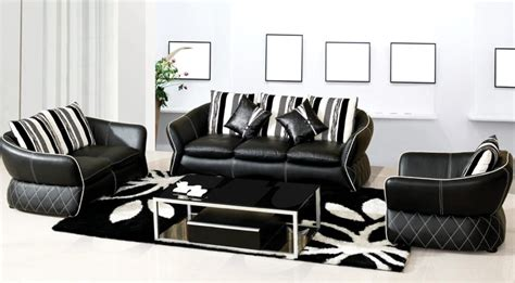 black and white leather sofa set 2811 black and white