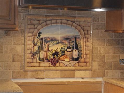 Kitchen Backsplash Murals Decorative Tile Backsplash Kitchen Tile Ideas Tuscan Wine Tile Mural