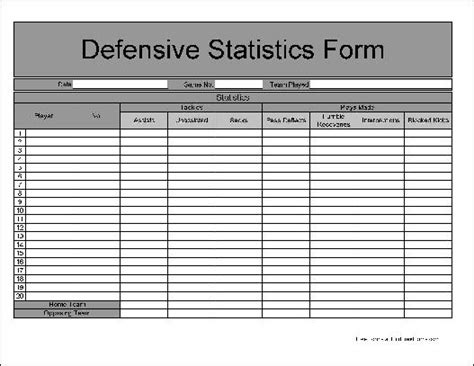 statistics template free numbered row football defensive statistics form