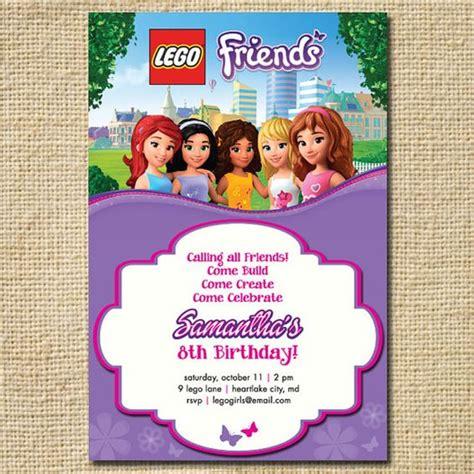 lego friends card template lego friends birthday invitation lego birthday by