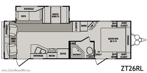 crossroads rv floor plans 2010 crossroads zinger zt26rl travel trailer unit details