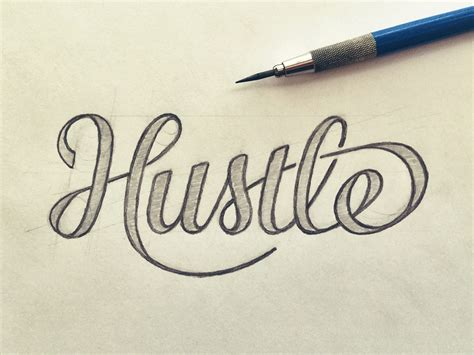 hustle shirt hand lettering by seanwes