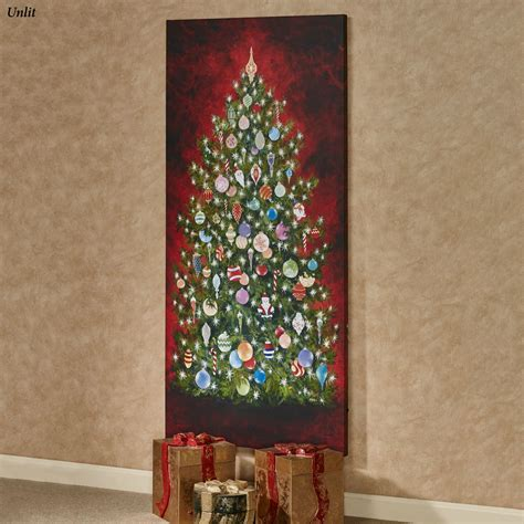 lighted christmas canvas wall art happy christmas tree 59 inch tall led lighted canvas wall
