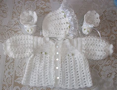 Crochet Set crochet baby white sweater set bonnet and booties