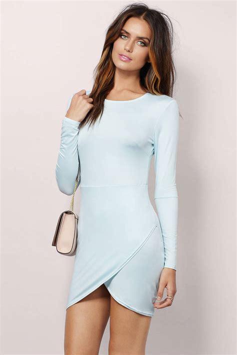 Id 2298 Blue Bodycon Dress light blue dress sleeve dress beautiful light