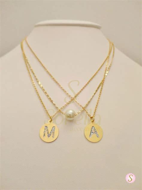 cadenas con nombre chapa de oro cadena sorella con iniciales mini y perla natural en chapa