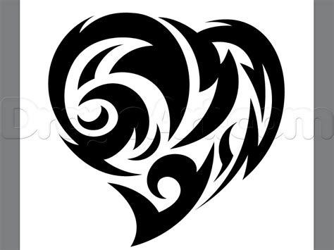 tribal heart tattoos how to draw a tribal step by step tattoos