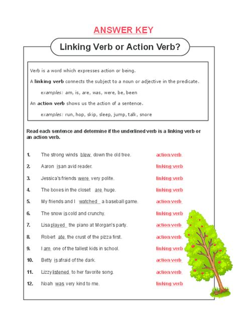 Linking And Verb Worksheets With Answer Key all worksheets 187 linking verb worksheets printable