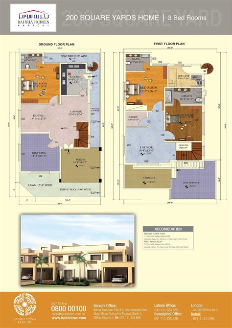 4 Bedroom Bungalow Floor Plan by Floor Plans Of 125 And 200 Sq Yards Bahria Homes Karachi