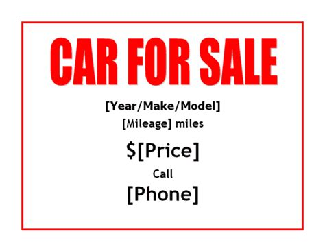 car for sale sign template car sale sign free template pictures inspirational pictures