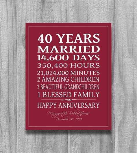 Wedding Anniversary Gifts Ruby by Ruby 4oth Anniversary Gift Personalized By