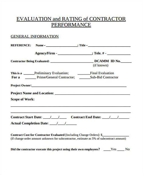 7 Contractor Evaluation Form Sles Free Sle Exle Format Download Contractor Evaluation Template
