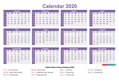 calendar  holidays template word