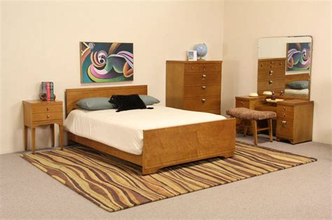 maple bedroom set sold midcentury modern 5 pc curly birdseye maple
