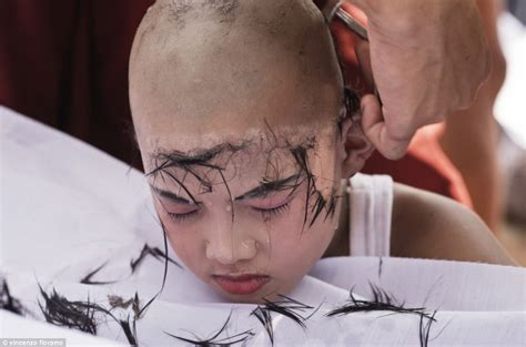 female forced head shaving theravada buddhism incredible pictures document the